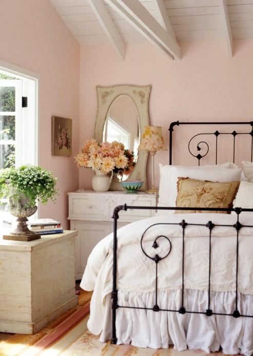 Interesting Black White Pink Accents Bedroom